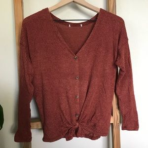 Rust button-down sweater
